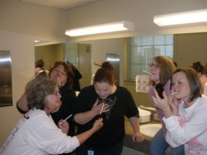 Posing for a goofy shot with my old work buddies, 2006