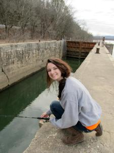 Liz, fishing for crappie, January 2012