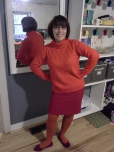 Dressing up as Velma for Halloween 2013, just to please my students who INSISTED  :).